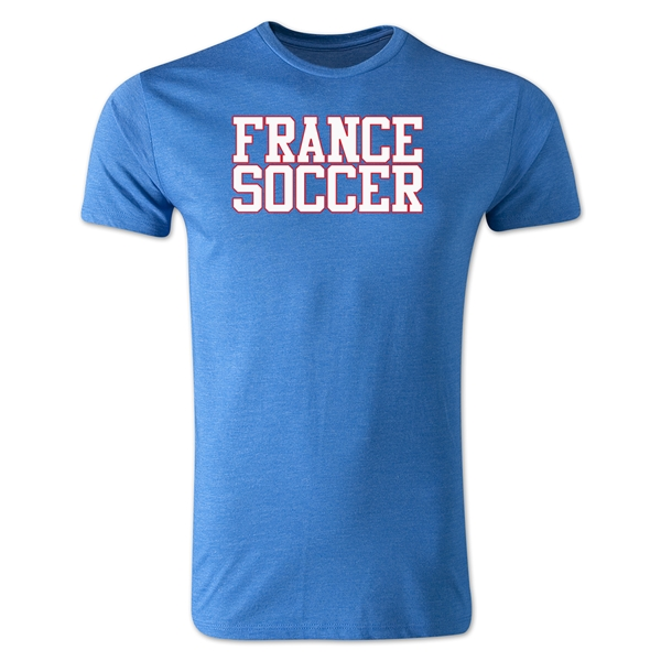 France Soccer Supporter Men's Fashion T-Shirt (Heather Blue)