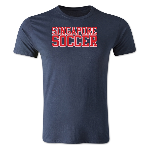 Singapore Soccer Supporter Men's Fashion T-Shirt (Navy)