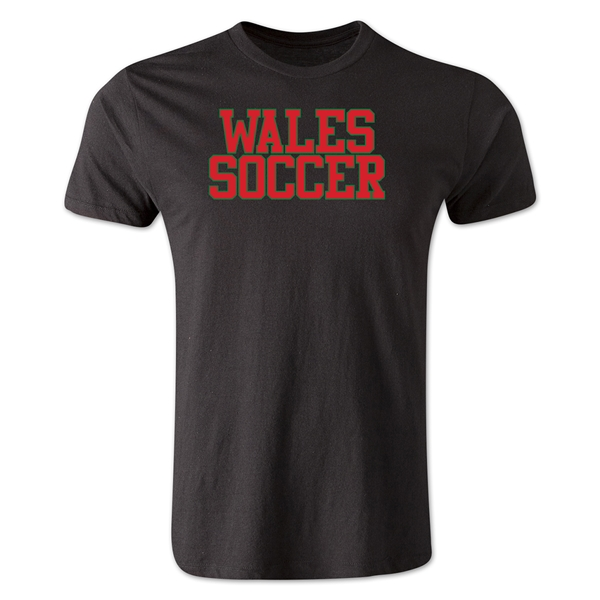 Wales Soccer Supporter Men's Fashion T-Shirt (Black)