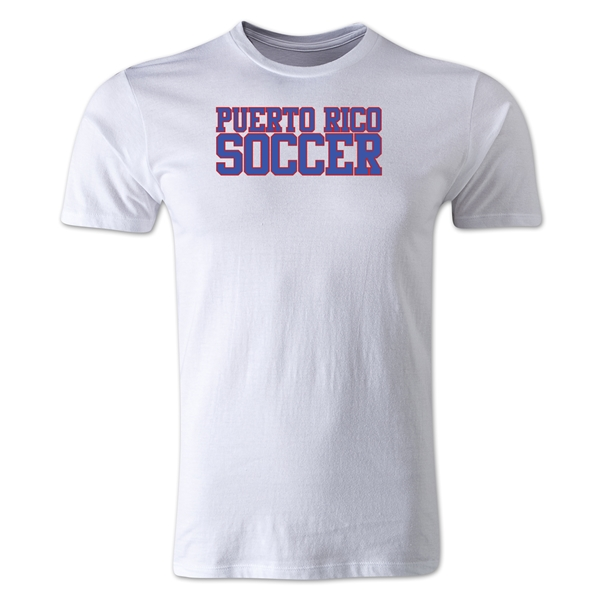 Puerto Rico Soccer Supporter Men's Fashion T-Shirt (White)