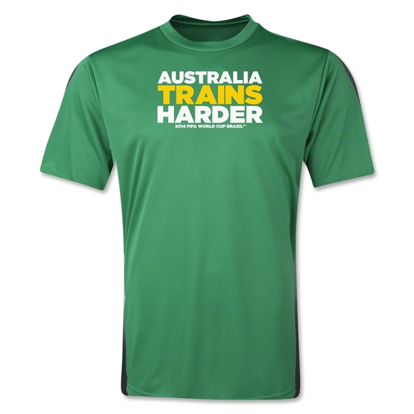 Australia 2014 FIFA World Cup Brazil(TM) Men's Trains Harder T-Shirt (Green)