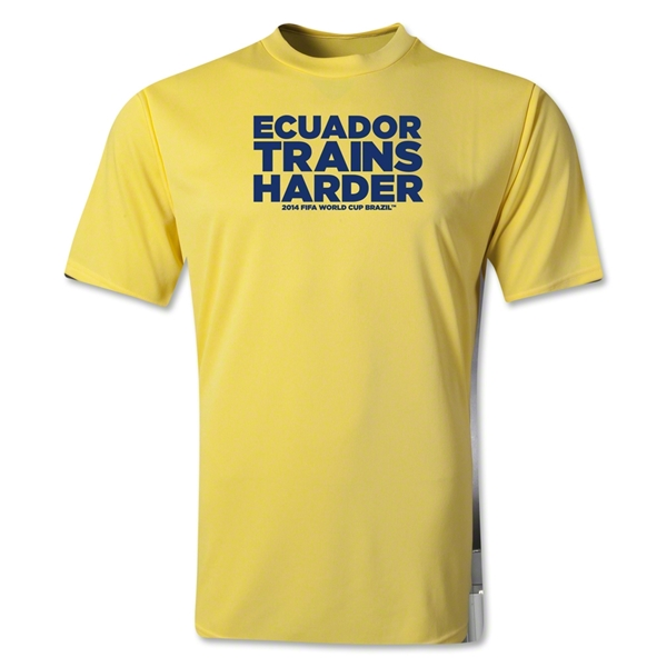 Ecuador 2014 FIFA World Cup Brazil(TM) Men's Trains Harder T-Shirt (Yellow)