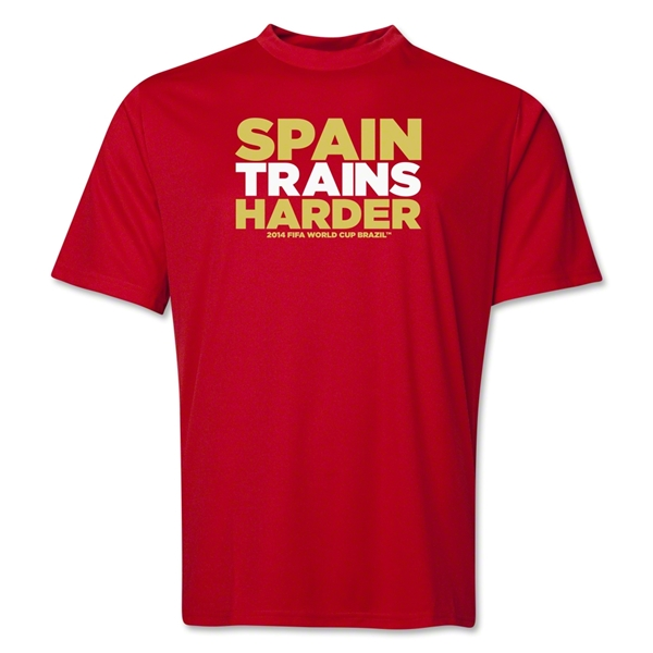 Spain 2014 FIFA World Cup Brazil(TM) Men's Trains Harder T-Shirt (Red)