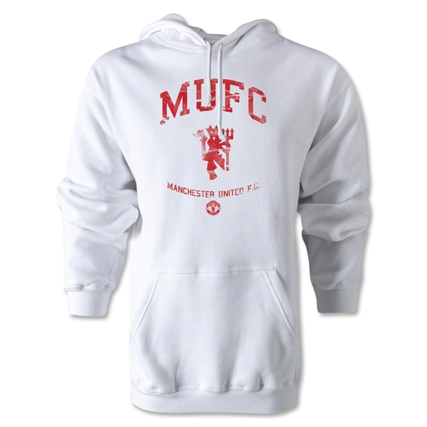 Manchester United Distressed MUFC Hoody (White)