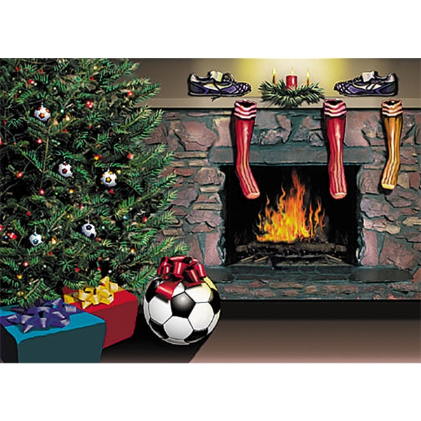 Soccer Fireplace Christmas Card