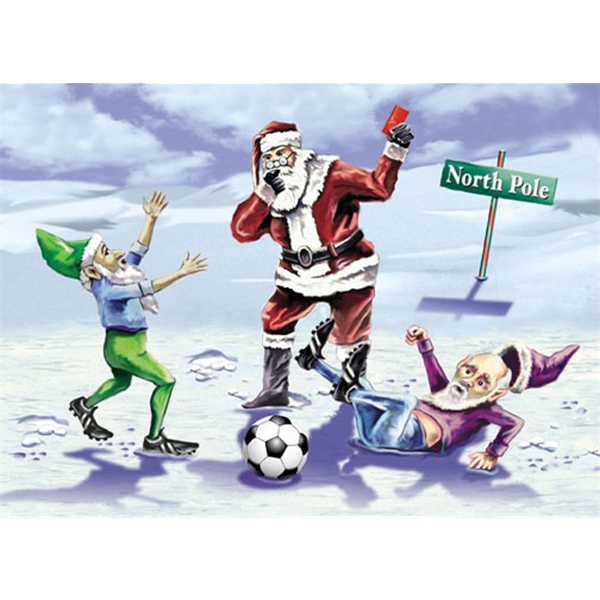 Santa and Elves Red Card Christmas Card
