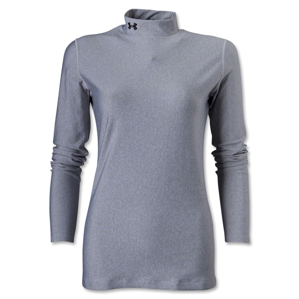 Under Armour Women's ColdGear Compression LS Mock Shirt (Gray)