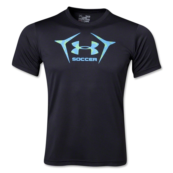 Under Armour Youth Soccer Icon T-Shirt (Blk/Grey)