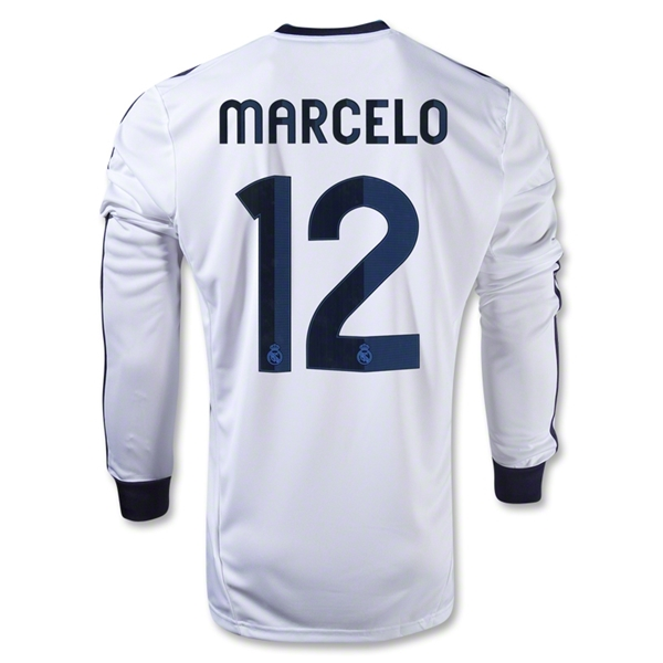 Real Madrid 12/13 MARCELO LS Home Soccer Jersey