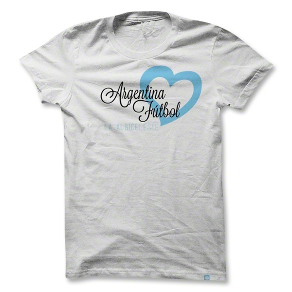 Objectivo Women's Argentina Heart Soccer T-Shirt (White)