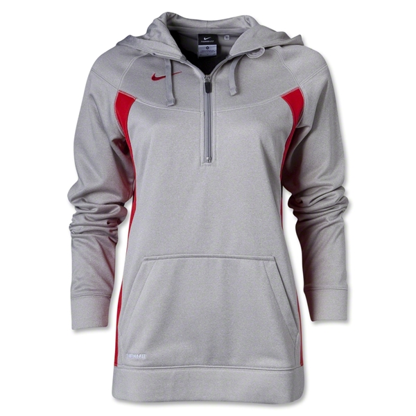 Nike Women's Core Fleece 1/4 Zip (Gray/Red)