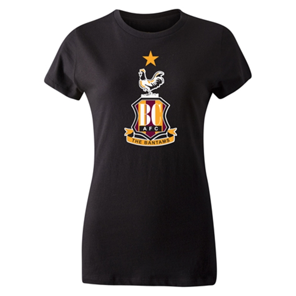 Bradford City Women's Crest T-Shirt (Black)