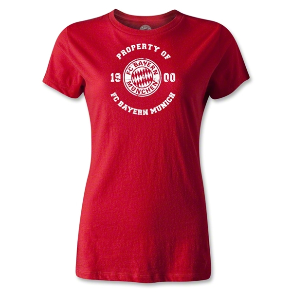 Bayern Munich Distressed Property Women's T-Shirt (Red)
