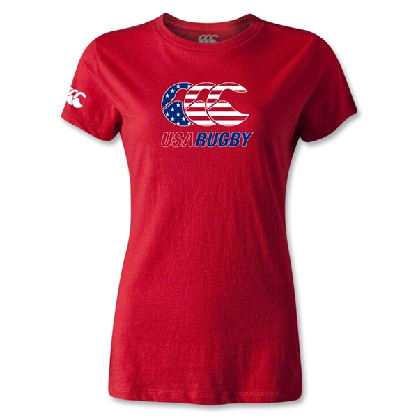 USA Rugby Women's Stars and Stripes T-Shirt (Red)