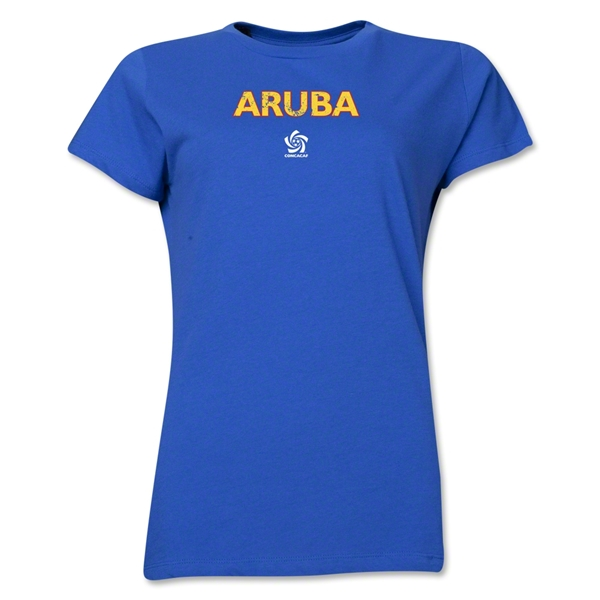 Aruba CONCACAF Distressed Women's T-Shirt (Royal)