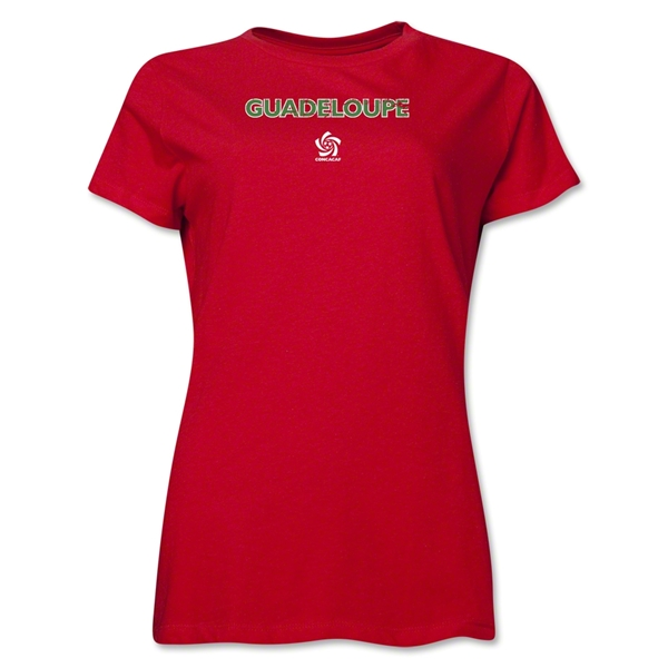 Guadaloupe CONCACAF Distressed Women's T-Shirt (Red)