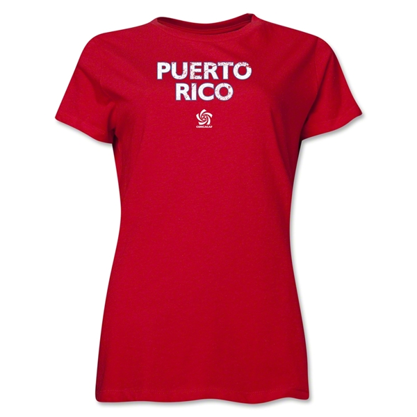 Puerto Rico CONCACAF Distressed Women's T-Shirt (Red)