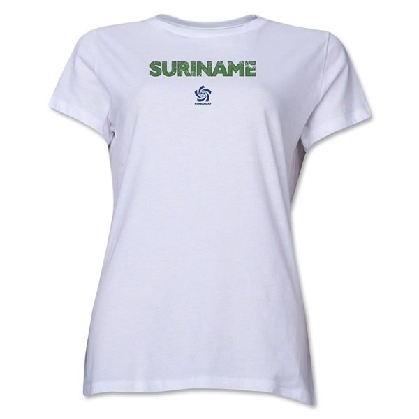 Suriname CONCACAF Distressed Women's T-Shirt (White)