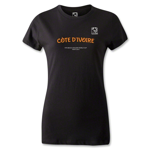 FIFA Beach World Cup 2013 Women's Cote D'Ivoire T-Shirt (Black)