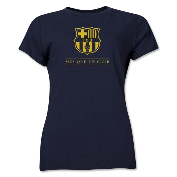 Barcelona Mes Que Un Club Women's T-Shirt (Navy)