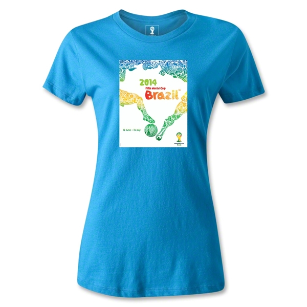 2014 FIFA World Cup Brazil(TM) Official Event Poster Women's T-Shirt (Turquoise)