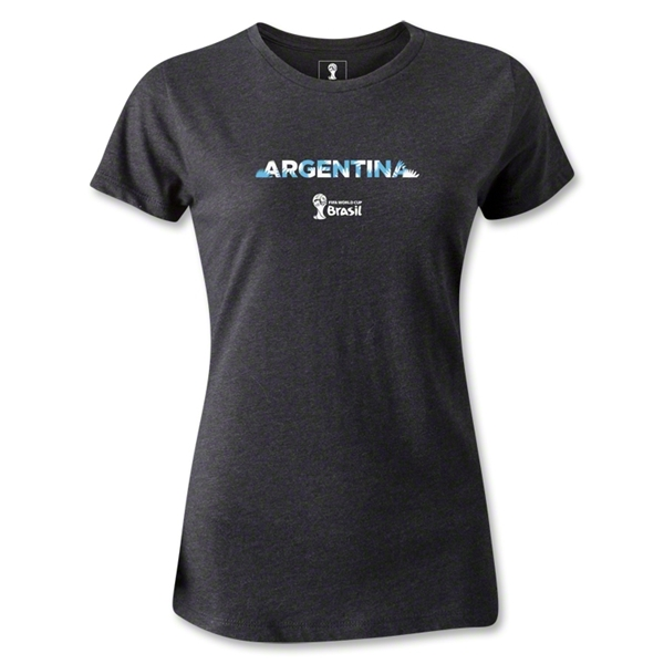 Argentina 2014 FIFA World Cup Brazil(TM) Women's Palm T-Shirt (Dark Grey)