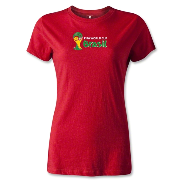 2014 FIFA World Cup Brazil(TM) Women's Landscape Emblem T-Shirt (Red)