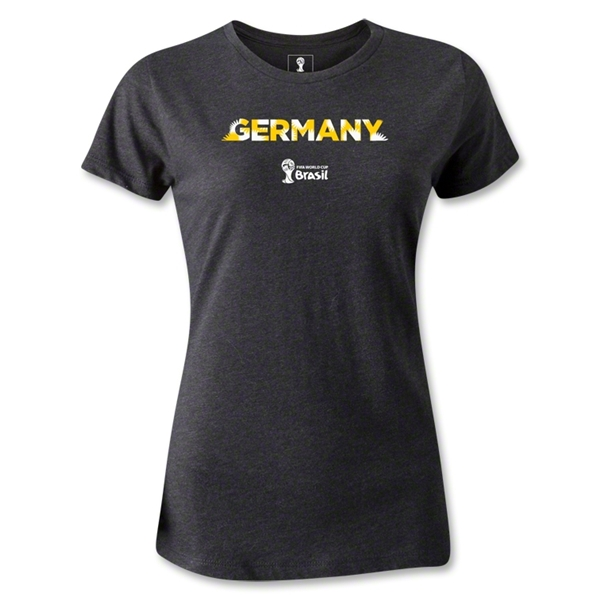 Germany 2014 FIFA World Cup Brazil(TM) Women's Palm T-Shirt (Dark Grey)
