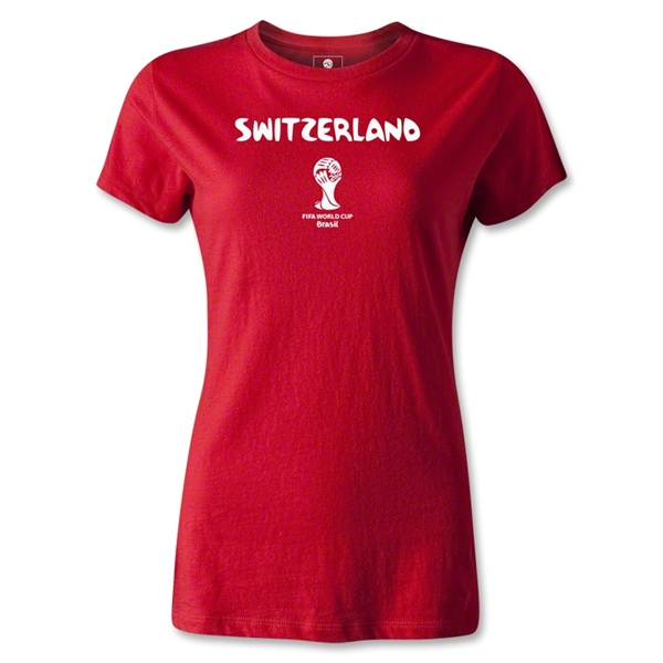 Switzerland 2014 FIFA World Cup Brazil(TM) Women's Core T-Shirt (Red)