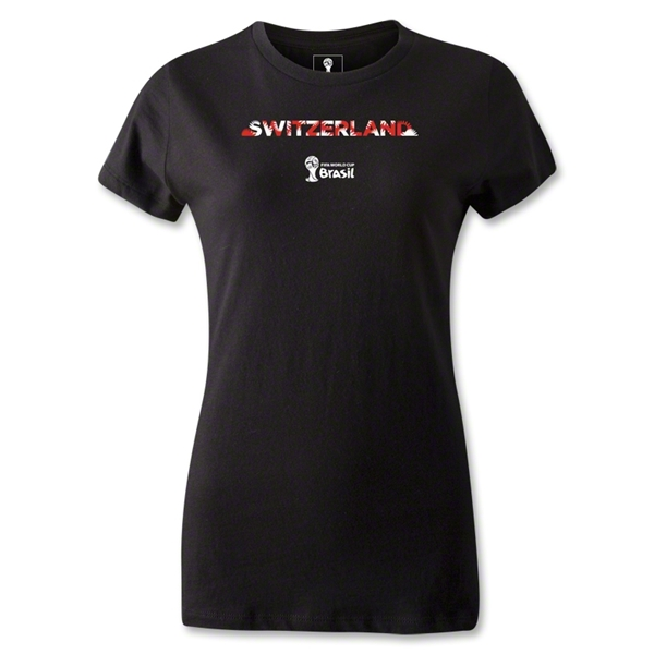 Switzerland 2014 FIFA World Cup Brazil(TM) Women's Elements T-Shirt (Black)