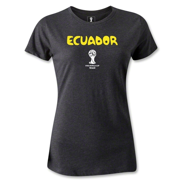 Ecuador 2014 FIFA World Cup Brazil(TM) Women's Core T-Shirt (Dark Grey)