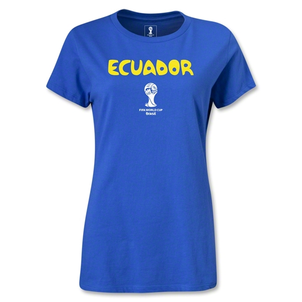 Ecuador 2014 FIFA World Cup Brazil(TM) Women's Core T-Shirt (Royal)