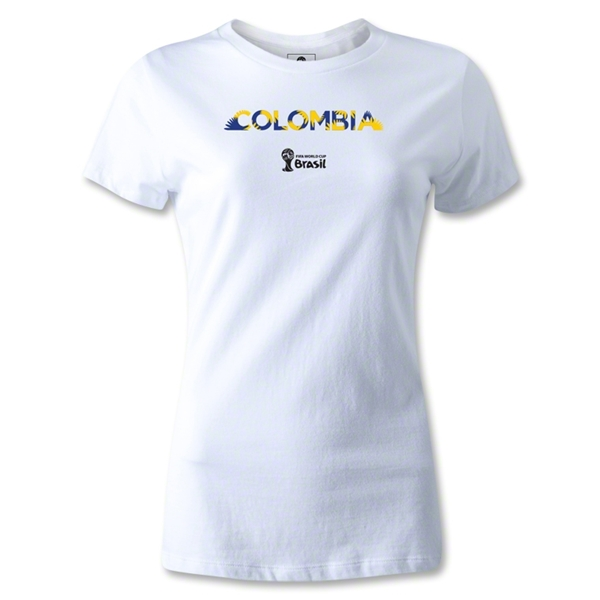Colombia 2014 FIFA World Cup Brazil(TM) Women's Palm T-Shirt (White)