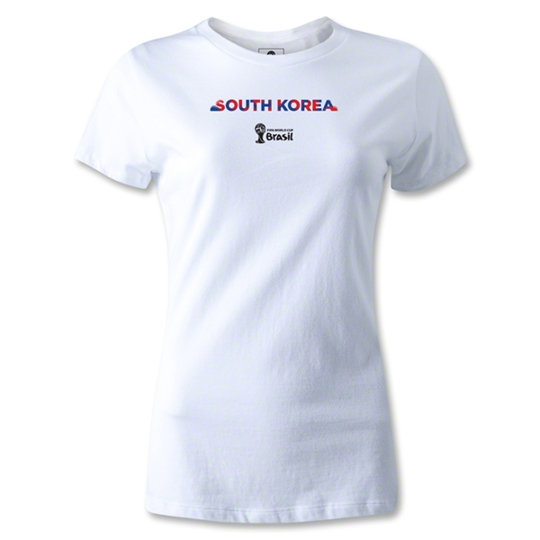 South Korea 2014 FIFA World Cup Brazil(TM) Women's Palm T-Shirt (White)