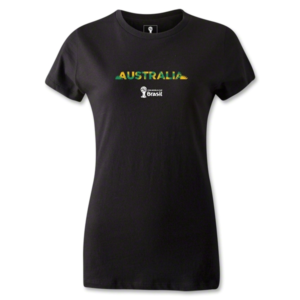 Australia 2014 FIFA World Cup Brazil(TM) Women's Palm T-Shirt (Black)