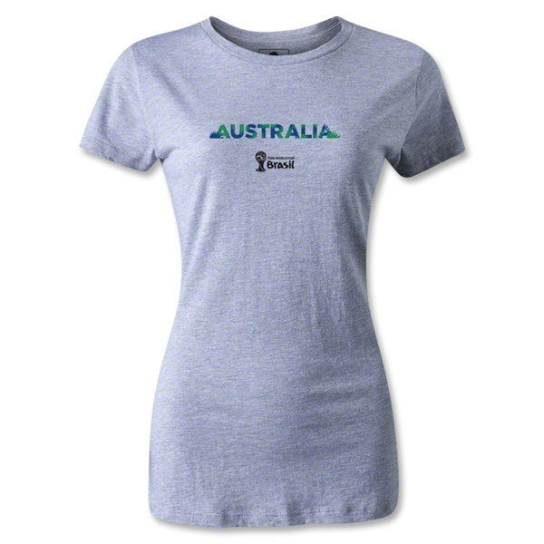 Australia 2014 FIFA World Cup Brazil(TM) Women's Palm T-Shirt (Gray)