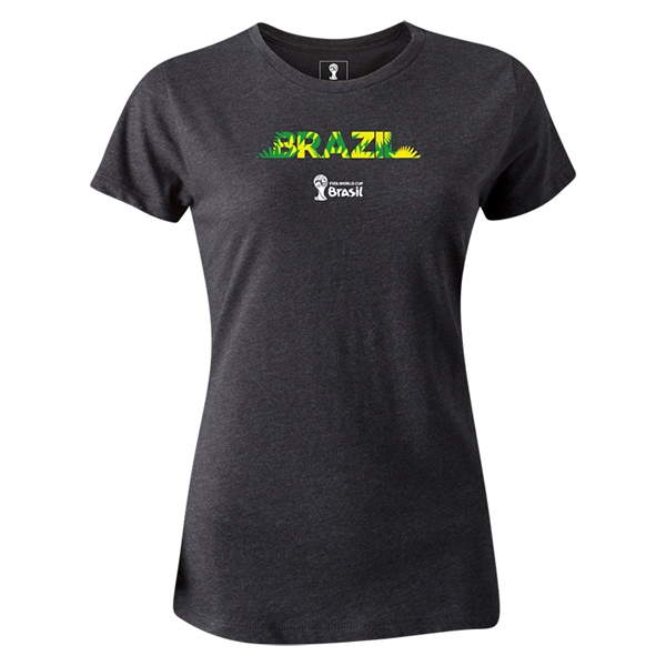 Brazil 2014 FIFA World Cup Brazil(TM) Women's T-Shirt (Dark Gray)