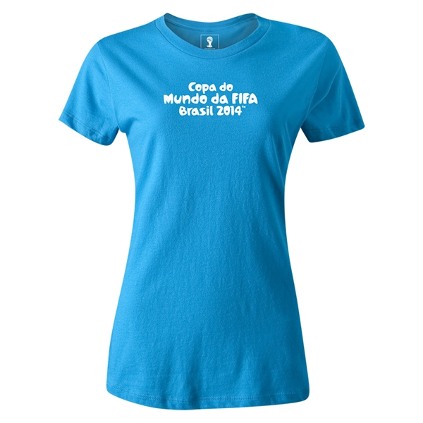 2014 FIFA World Cup Brazil(TM) Women's Portugese Logotype T-Shirt (Turquoise)