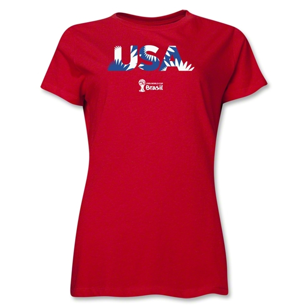 USA 2014 FIFA World Cup Brazil(TM) Women's Palm T-Shirt (Red)