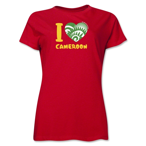 I Heart Cameroon 2014 FIFA World Cup Brazil(TM) Women's T-Shirt (Red)