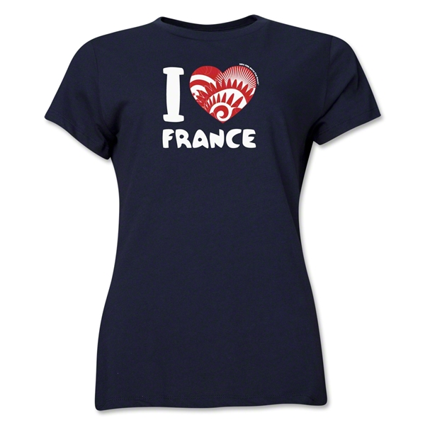 I Heart France 2014 FIFA World Cup Brazil(TM) Women's T-Shirt (Navy)