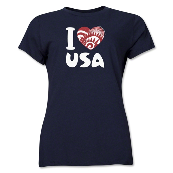 I Heart USA 2014 FIFA World Cup Brazil(TM) Women's T-Shirt (Navy)