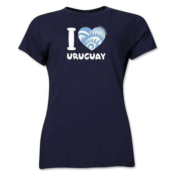 I Heart Uruguay 2014 FIFA World Cup Brazil(TM) Women's T-Shirt (Navy)