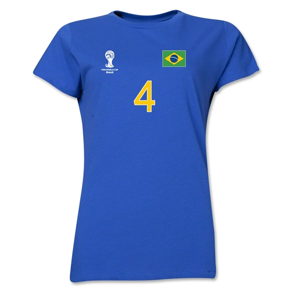 Brazil 2014 FIFA World Cup Brazil(TM) Women's Number 4 T-Shirt (Royal)