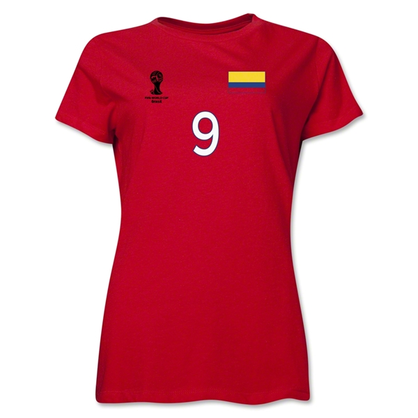 Colombia 2014 FIFA World Cup Brazil(TM) Women's Number 9 T-Shirt (Red)