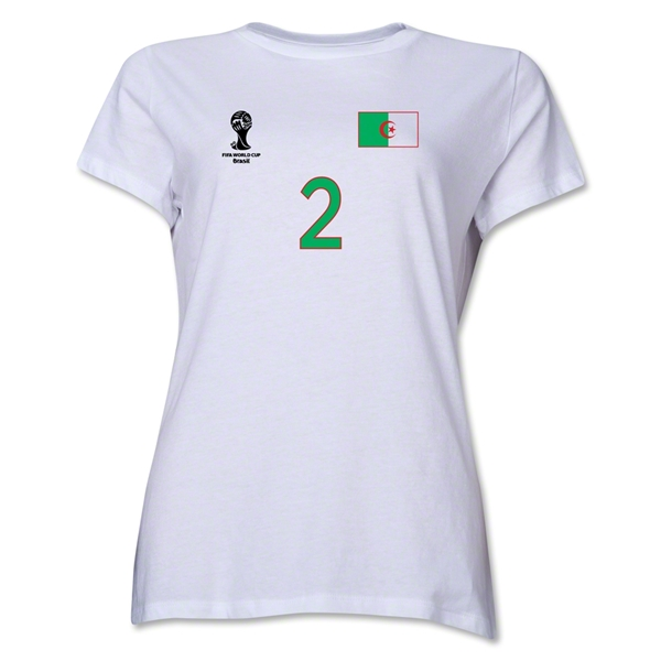Algeria 2014 FIFA World Cup Brazil(TM) Women's Number 2 T-Shirt (White)