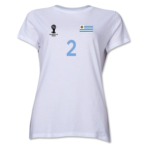 Uruguay 2014 FIFA World Cup Brazil(TM) Women's Number 2 T-Shirt (White)