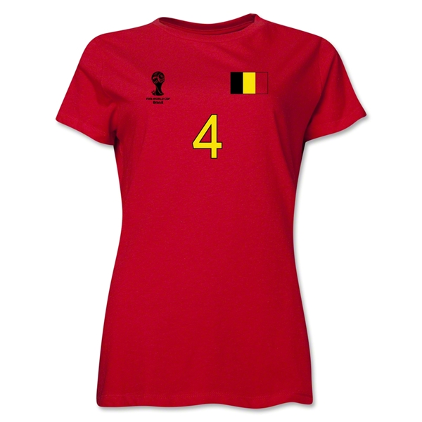 Belgium 2014 FIFA World Cup Brazil(TM) Women's Number 4 T-Shirt (Red)