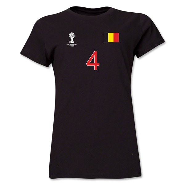 Belgium 2014 FIFA World Cup Brazil(TM) Women's Number 4 T-Shirt (Black)