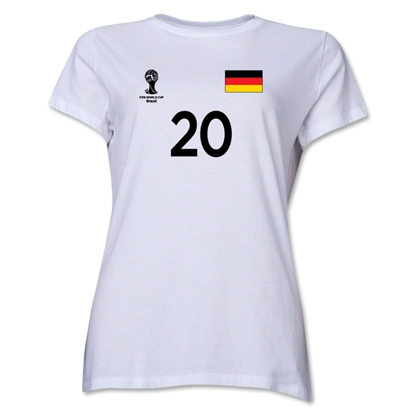 Germany 2014 FIFA World Cup Brazil(TM) Women's Number 20 T-Shirt (White)